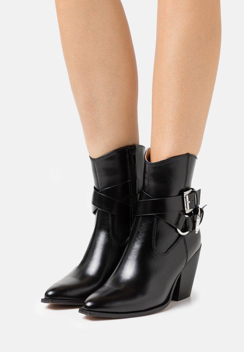 ONLY SHOES - ONLBLAKE STRAP BOOT - Korte laarzen - black