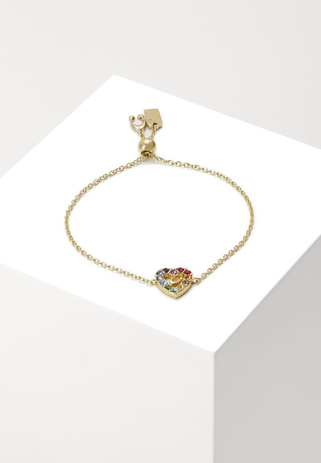 PRIDE RAINBOW PAVE SCULPTED HEART SLIDER BRACELET - Náramek - gold-coloured