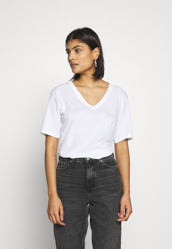 LAST V NECK - T-shirt - bas - white