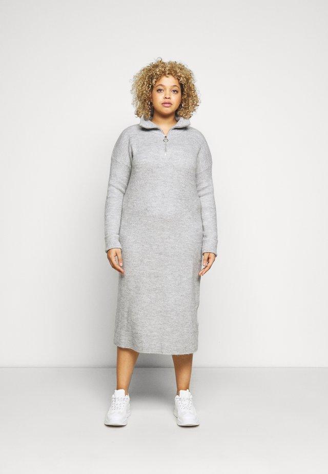 ZIP NECK DRESS - Gebreide jurk - grey marl