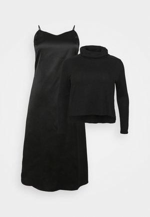 SIOBHAN MIX DRESS - Maglietta a manica lunga - black