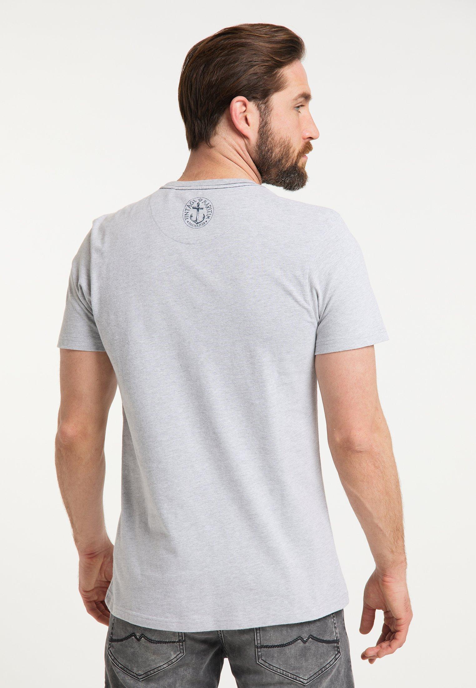 DreiMaster Print T-shirt - hellgrau melange 0rer8