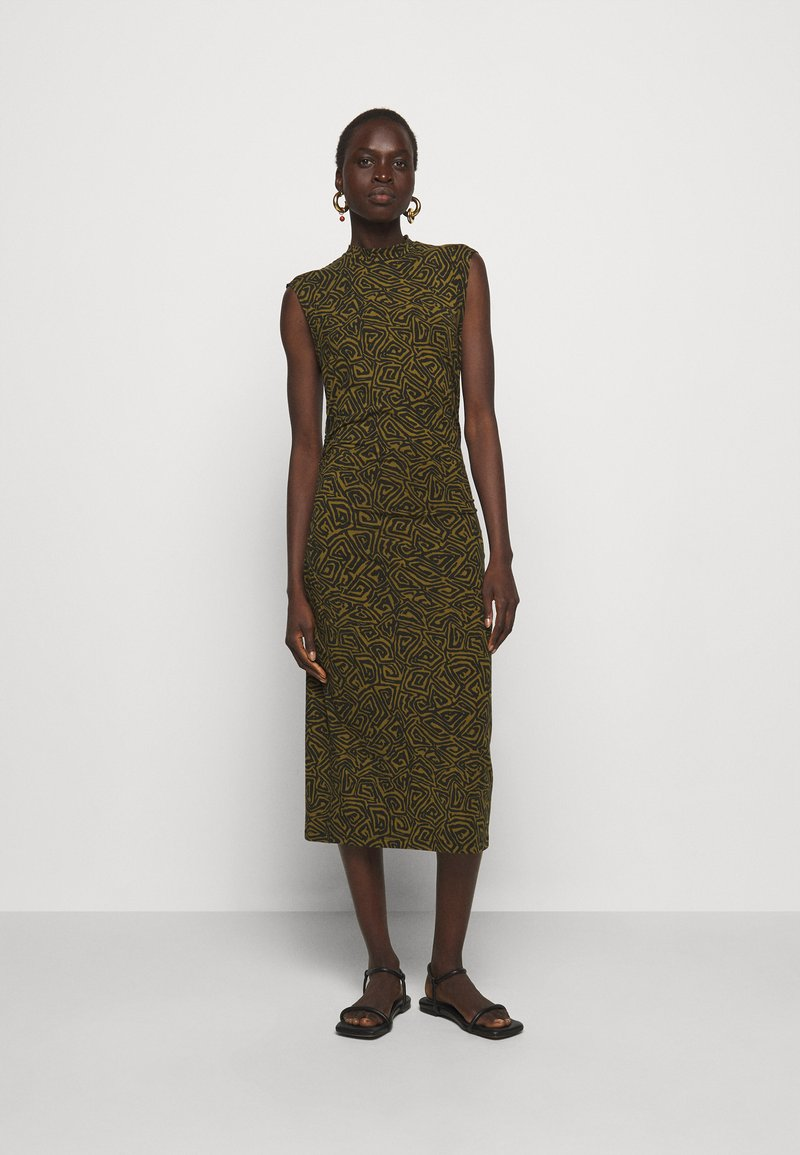 Proenza Schouler White Label - ABSTRACT SWIRL SHEER STRETCH DRESS - Robe longue - military/black