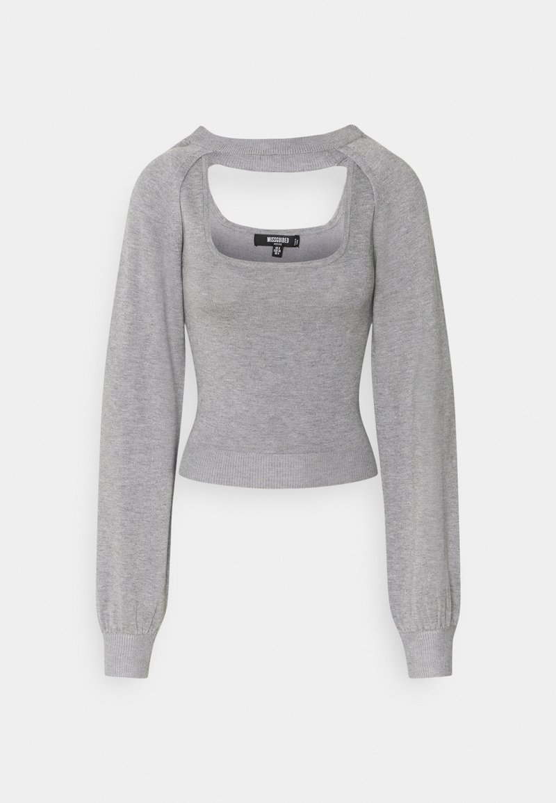 Missguided Petite - TWO PIECE LAYERED TOP - Maglione - grey
