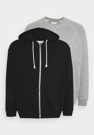 SET - Zip-up hoodie - black/mottled grey