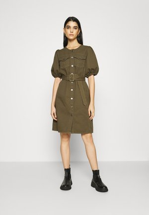 DILETTO DRESS - Denim dress - dark olive