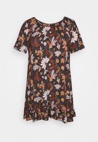 Evans - FLORAL FRILL SHORT SLEEVE TUNIC - Print T-shirt - multi-coloured - 5