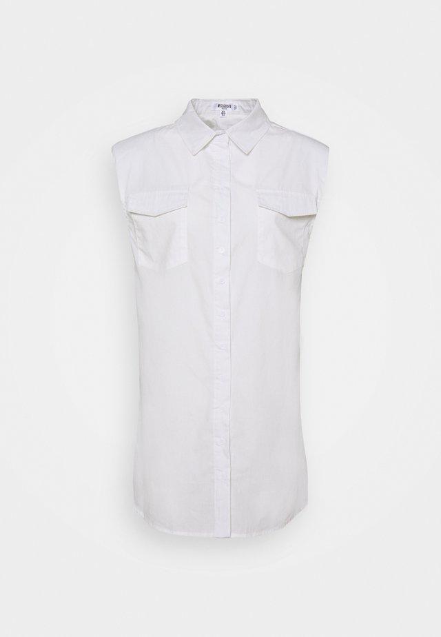SHOULDER PAD SLEEVELESS DRESS - Shirt dress - white