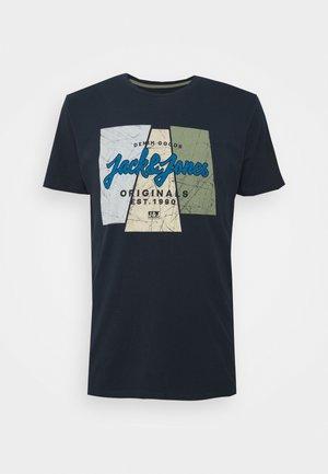 JORLOGON TEE CREW NECK  - T-shirt print - navy /melange