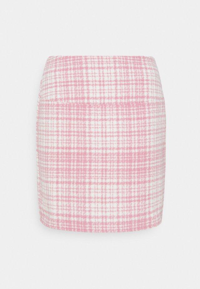 BRUSHED CHECK MINI SKIRT - Miniskjørt - pink
