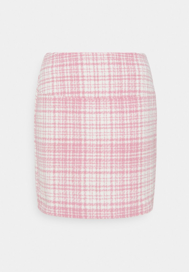 Missguided - BRUSHED CHECK MINI SKIRT - Mini skirt - pink