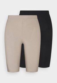 Monki - EDDA 2 PACK - Shorts - black dark/beige - 6