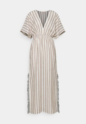 STRIPED CAFTAN - Maxi šaty - ivory/anise brown