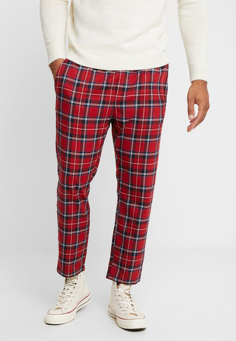 Only & Sons - ONSLINUS CROPPED CHECK PANT - Kangashousut - pompeian red