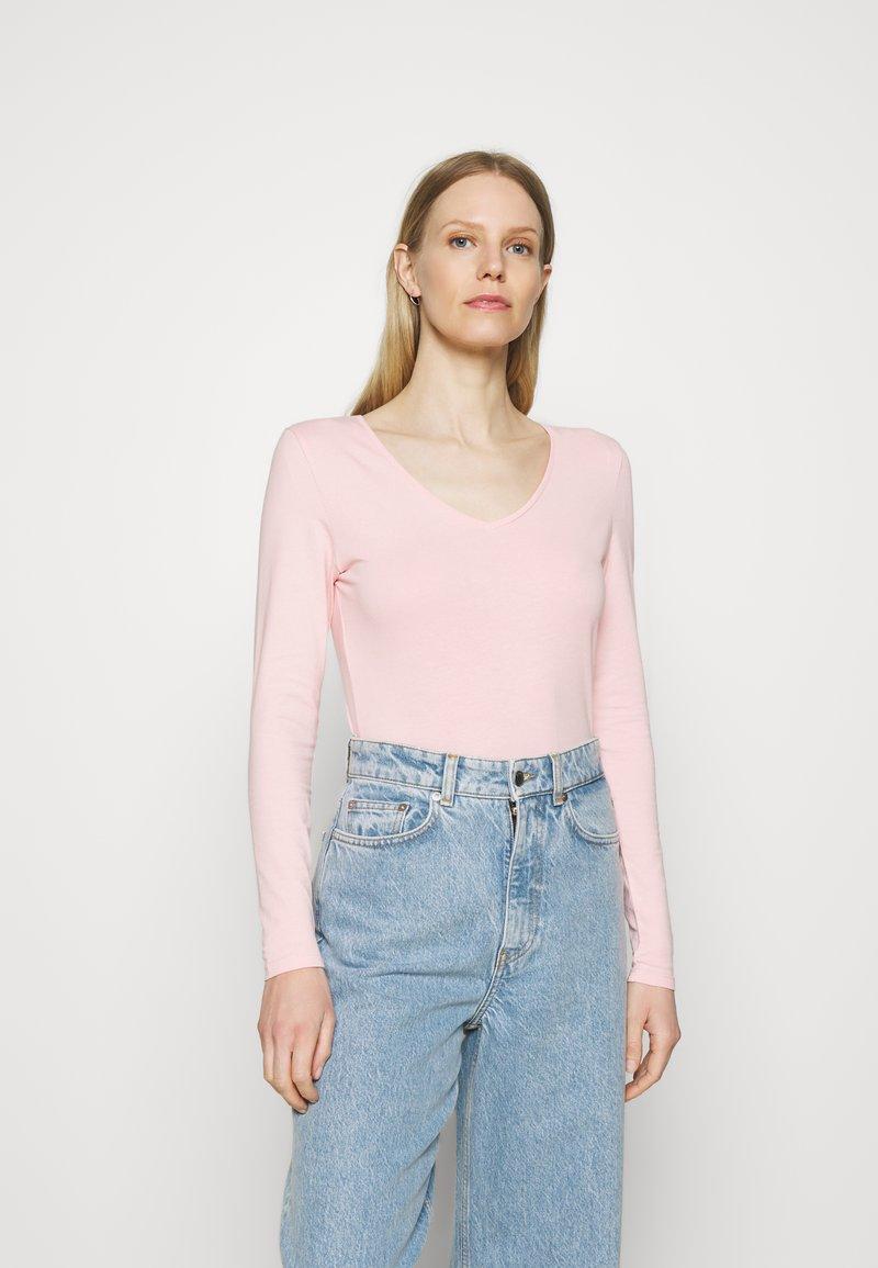Marks & Spencer London - FITTED V NECK - Longsleeve - light pink