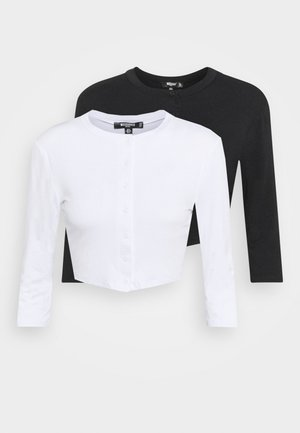 BUTTON FRONT LONG SLEEVE CROP 2 PACK - Long sleeved top - black/white