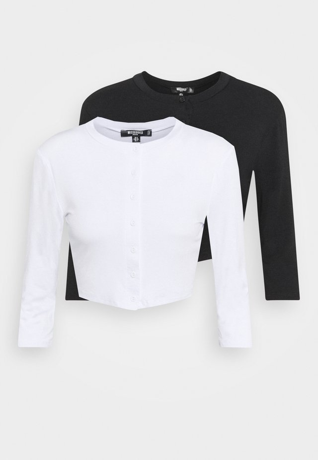 BUTTON FRONT LONG SLEEVE CROP 2 PACK - Pitkähihainen paita - black/white