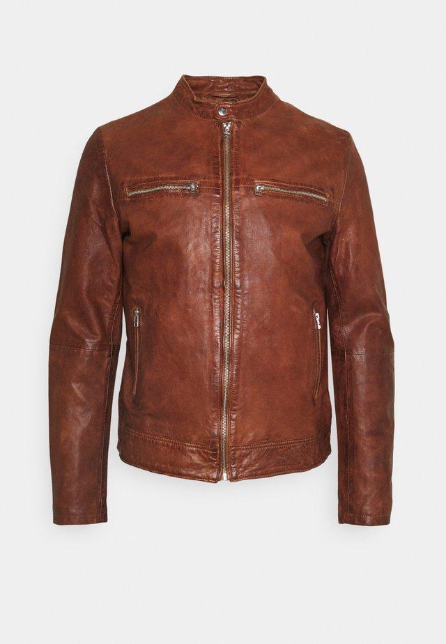 KYLL BIKER - Kožená bunda - dark cognac