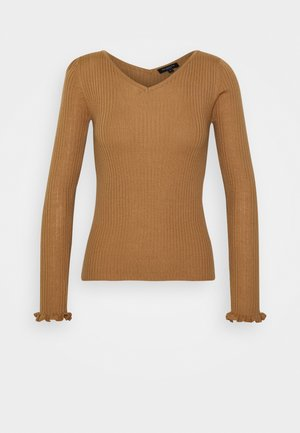 SLFCOSTA FRILL WIDE NECK  - Jersey de punto - tigers eye