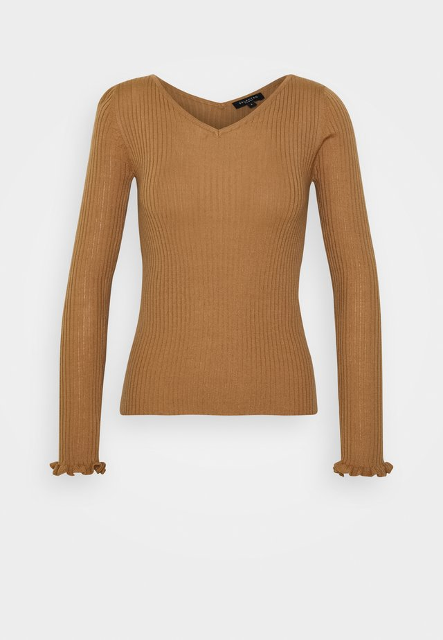 SLFCOSTA FRILL WIDE NECK  - Strikpullover /Striktrøjer - tigers eye