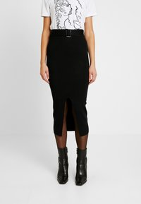 Missguided - MIDI SKIRT - Pencil skirt - black - 0