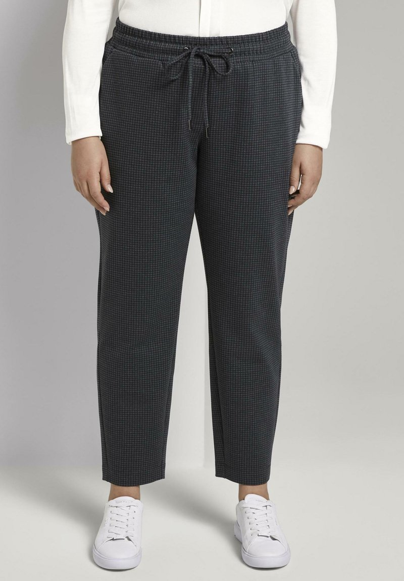 MY TRUE ME TOM TAILOR - Tracksuit bottoms - grey houndtooth check