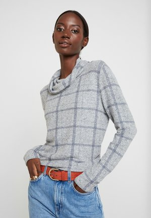 COSY CHECK ROLL NECK - Sweter - grey melange check