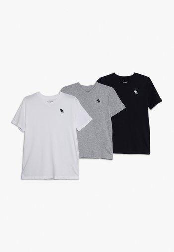 V NECK 3 PACK - T-shirt basic - navy/white/grey
