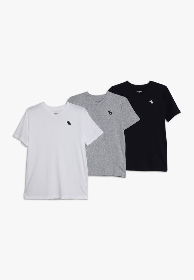 3 PACK - Basic T-shirt - navy/white/grey