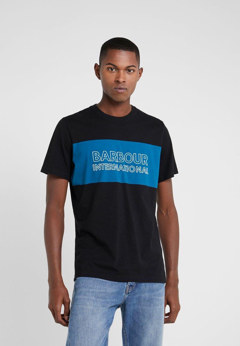 Barbour International - PANEL LOGO TEE - Print T-shirt - black