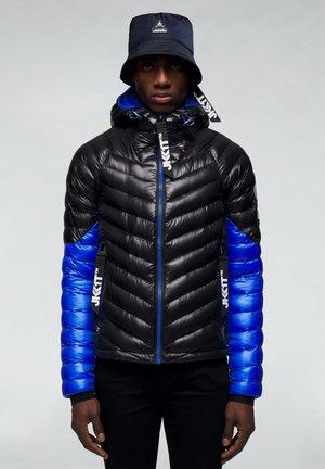 RISING RACER - Down jacket - black/cobalt