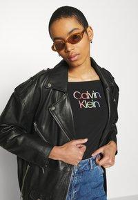 Calvin Klein - PIPING LOGO BARDOT - Print T-shirt - black - 3