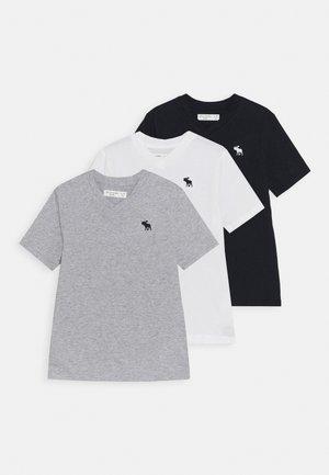 V NECK 3 PACK - Basic T-shirt - navy/white/grey