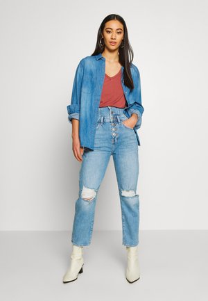 Button-down blouse - mid blue wash