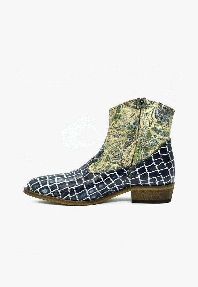 Cowboy-/Bikerlaarsjes - royal blue croco