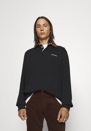 RUGBY - Koszulka polo - black/hamilton brown/white