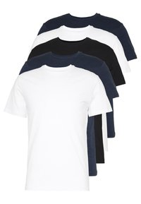 Pier One - 5 PACK - T-shirt basic - black/white/blue - 0