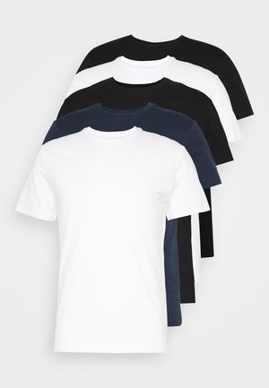 5 PACK - T-shirt basic - black/white/blue