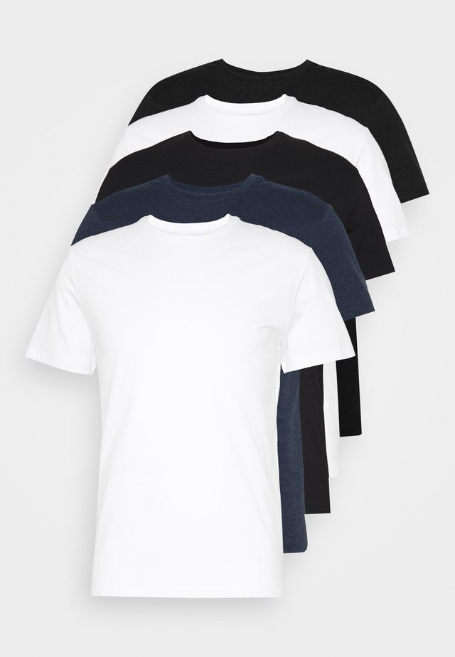 5 PACK - T-paita - black/white/blue