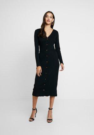 FRIDAY LONG SLEEVES BUTTON FRONT DRESS - Denní šaty - black