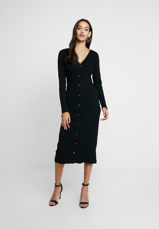 FRIDAY LONG SLEEVES BUTTON FRONT DRESS - Korte jurk - black