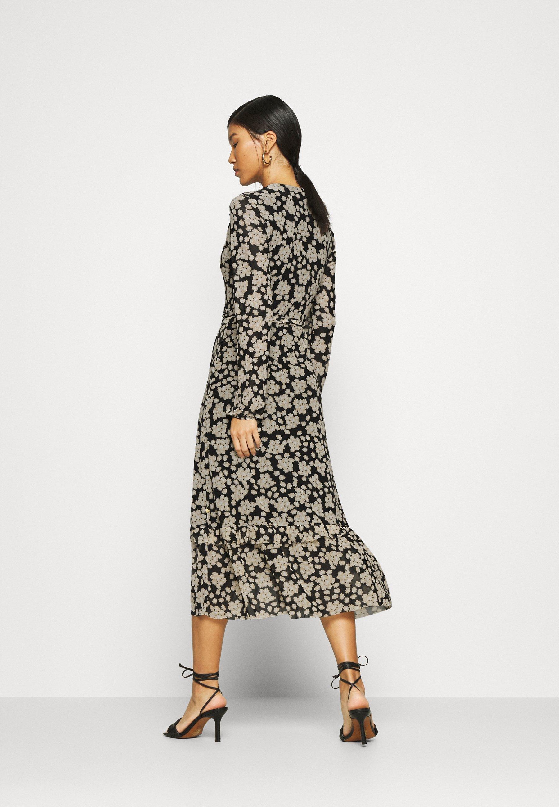 Fabienne Chapot NATASJA FRILL DRESS Freizeitkleid black/oatmeal/schwarz