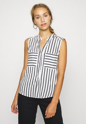 VMERIKA STRIPE - Button-down blouse - snow white/opposite black
