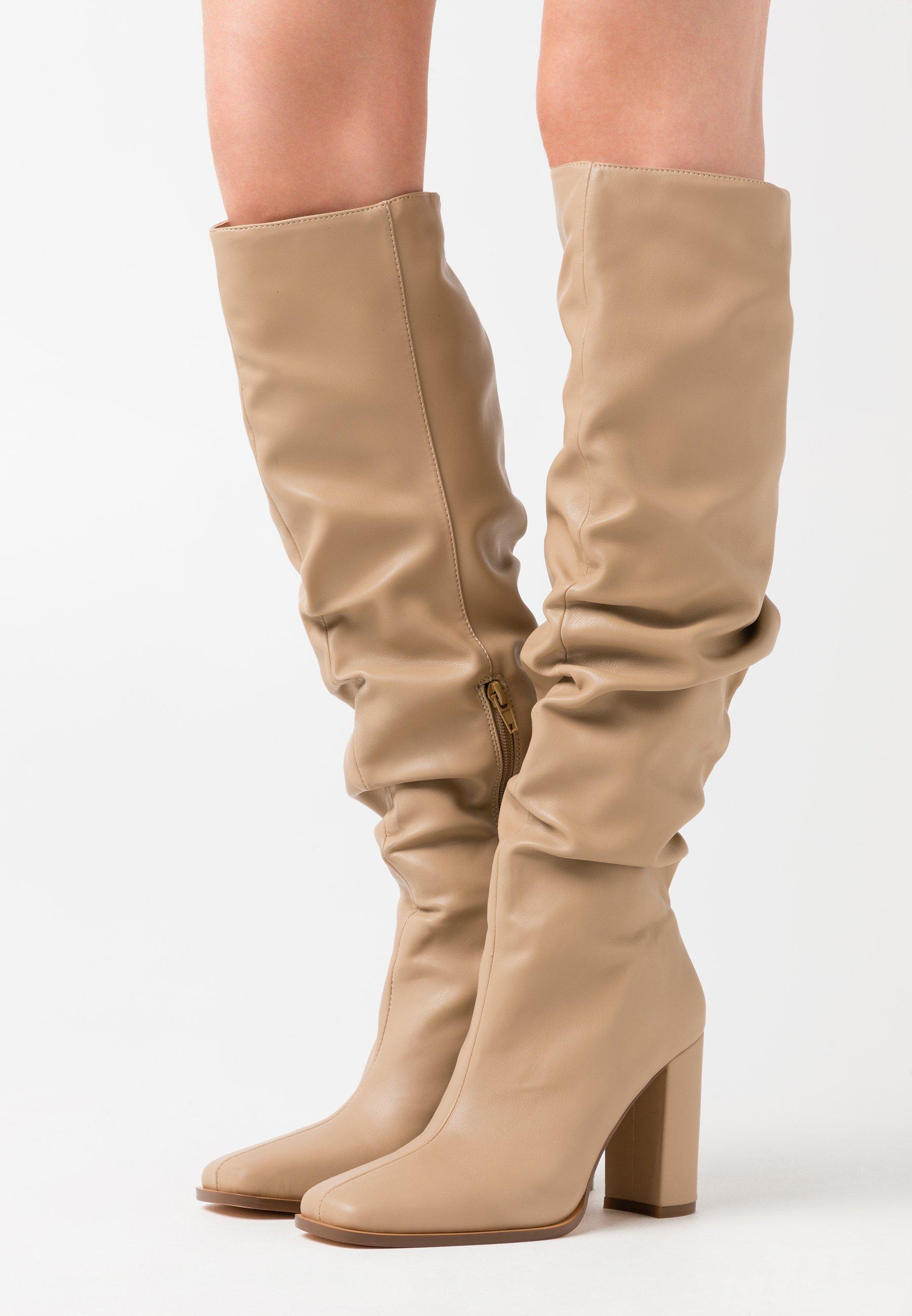 SLOUCHY SHAFT SQUARED TOE BOOTS Klassiska stövlar beige