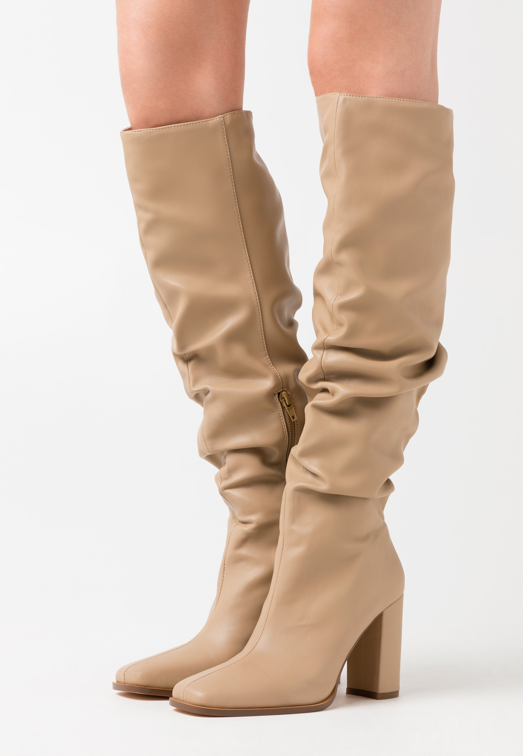 SLOUCHY SHAFT SQUARED TOE BOOTS   High Heel Stiefel   beige