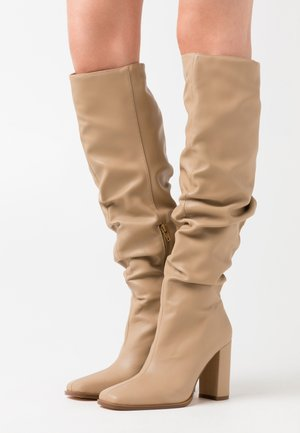 SLOUCHY SHAFT SQUARED TOE BOOTS - High heeled boots - beige