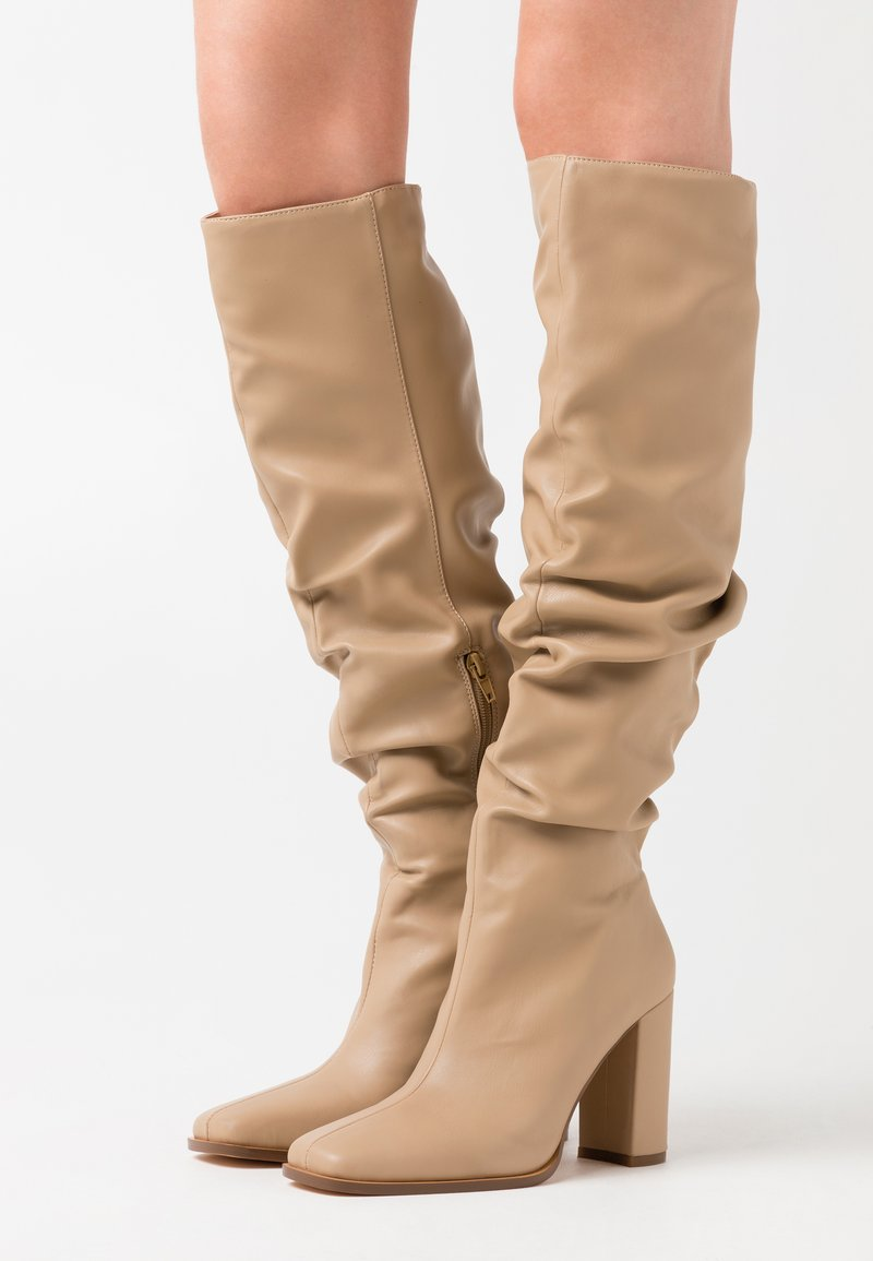 NA-KD - SLOUCHY SHAFT SQUARED TOE BOOTS - High heeled boots - beige