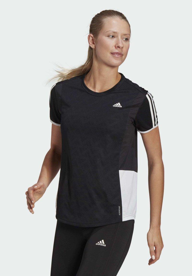 adidas Performance - OWN THE RUN 3-STRIPES ITERATION T-SHIRT - T-shirts med print - black