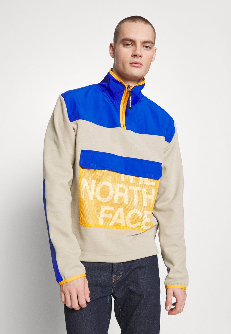 The North Face - GRAPHIC COLLECTION ZIP - Sweatshirt - twill beige/blue/flame orange