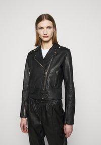 Pinko - SENSIBILE CHIODO - Leather jacket - black - 0